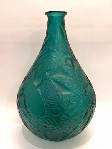 Art Déco - 1923 René Lalique - Vase Sauges Tall Green Glass