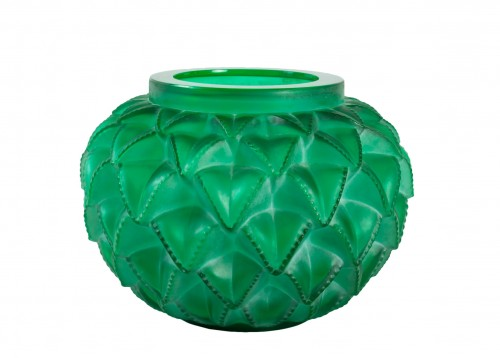 1929 René Lalique - Vase Languedoc Emerald Green Glass Patina White