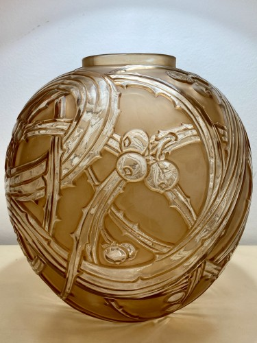 1924 René Lalique - Vase Baies Clear & Frosted Glass With Patina Sepia - Glass & Crystal Style Art Déco