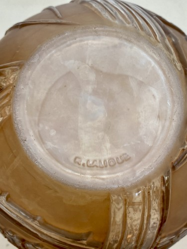 Glass & Crystal  - 1924 René Lalique - Vase Baies Clear & Frosted Glass With Patina Sepia