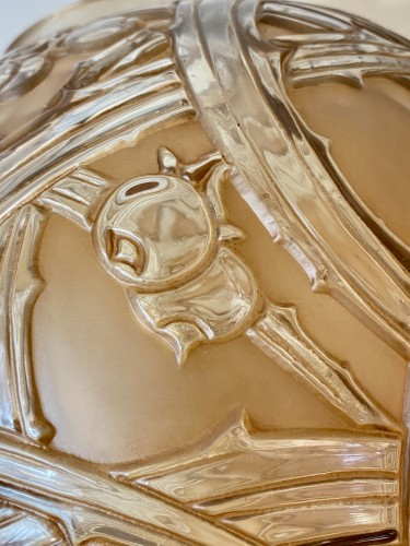Antiquités - 1924 René Lalique - Vase Baies Clear & Frosted Glass With Patina Sepia