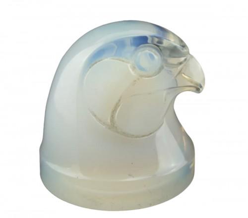 1928 Rene Lalique Tête D'Epervier Car Mascot Hood Ornament Opalescent Glass