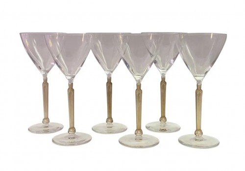 1921 René Lalique - Set Of 6 Clos Sainte-odile Glasses Clear Crystal With