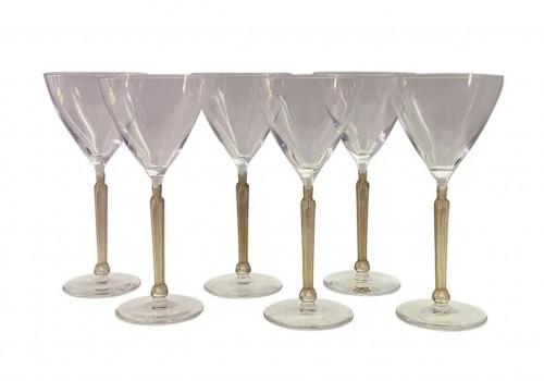 1921 René Lalique - Set Of 6 Clos Sainte-odile Glasses Clear Crystal With