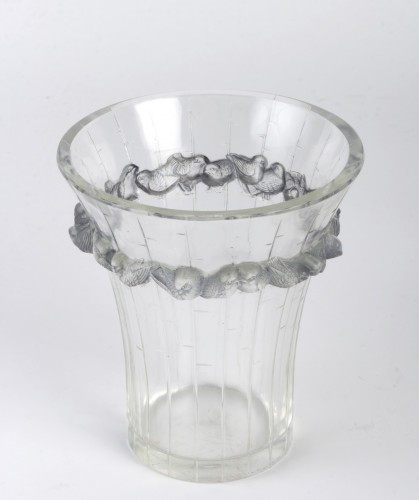 1933 René Lalique - Vase Boulouris Clear Glass Blue Patina -