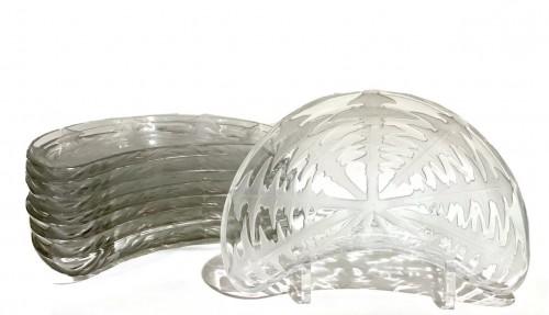 """1924 René Lalique - Set of eight 8 """"Pissenlit"""" salad plates - Glass & Crystal Style Art Déco"""