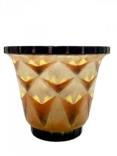 1930 Gabriel Argy-rousseau - Vase A Palmettes Triangulaires Pate De Verre O