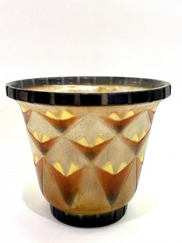 1930 Gabriel Argy-rousseau - Vase A Palmettes Triangulaires Pate De Verre O - Glass & Crystal Style Art Déco