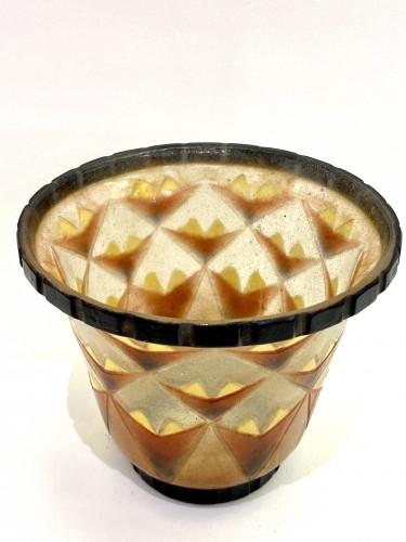 Glass & Crystal  - 1930 Gabriel Argy-rousseau - Vase A Palmettes Triangulaires Pate De Verre O