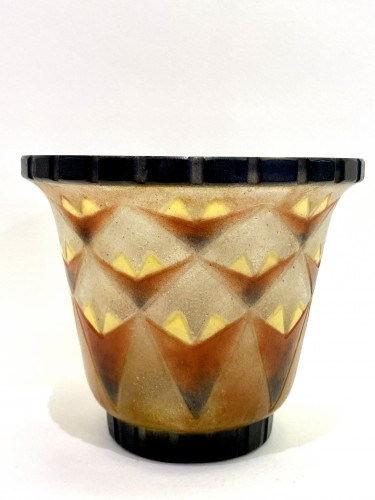 1930 Gabriel Argy-rousseau - Vase A Palmettes Triangulaires Pate De Verre O -