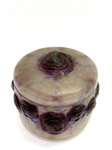 1921 Gabriel Argy-rousseau - Box Jar Roses Renonculus  - Glass & Crystal Style Art Déco