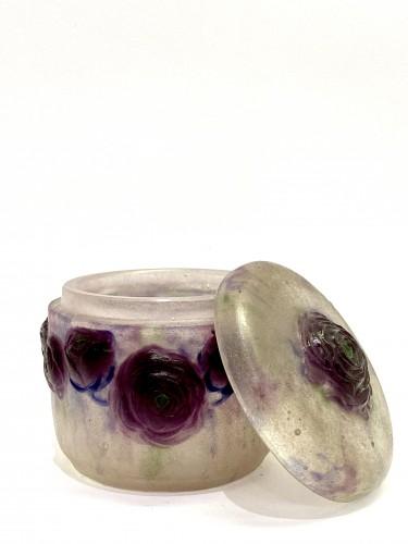 Glass & Crystal  - 1921 Gabriel Argy-rousseau - Box Jar Roses Renonculus