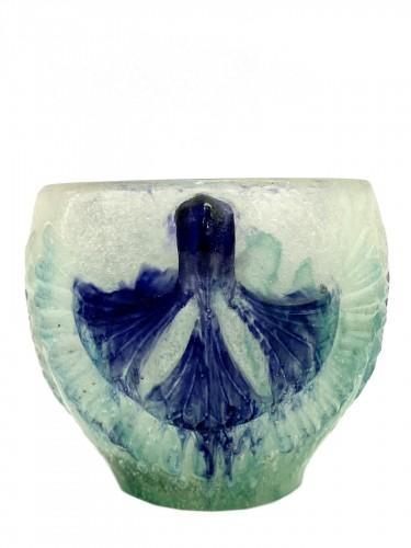 1924 Gabriel Argy-rousseau - Bowl Lotus White, Green & Blue Pate De Verre