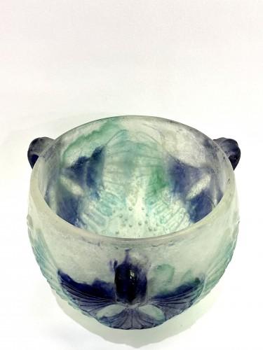 20th century - 1924 Gabriel Argy-rousseau - Bowl Lotus White, Green & Blue Pate De Verre