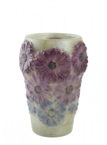 1920 Gabriel Argy-rousseau -  Vase Soucis Pate De Verre Glass Green, Purple