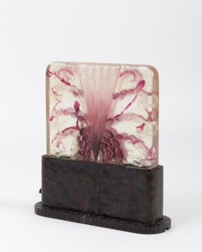 20th century - 1930 Gabriel Argy-rousseau - Night Lamp Algues Pâte De Verre Cameo Glass