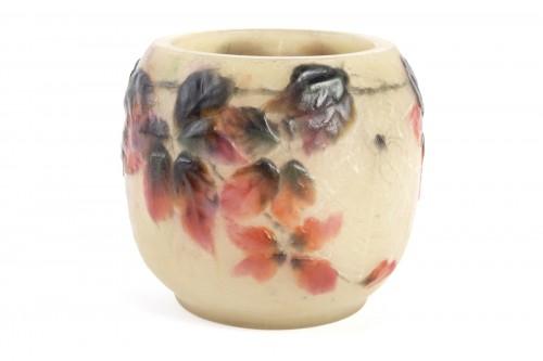 1920 Gabriel Argy-rousseau - Vase Araignées Et Ronces Pate De Verre Glass C