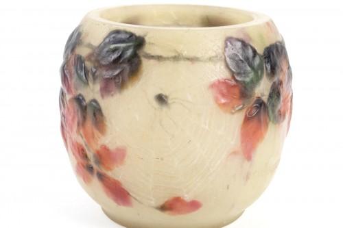 1920 Gabriel Argy-rousseau - Vase Araignées Et Ronces Pate De Verre Glass C -