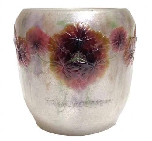 1917 Gabriel Argy-rousseau Vase Geranium Sauvage White, Pink & Green Glass