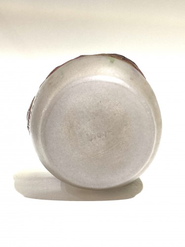 1917 Gabriel Argy-rousseau Vase Geranium Sauvage White, Pink & Green Glass -