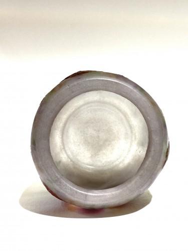 20th century - 1917 Gabriel Argy-rousseau Vase Geranium Sauvage White, Pink & Green Glass