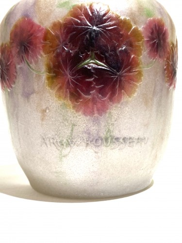1917 Gabriel Argy-rousseau Vase Geranium Sauvage White, Pink & Green Glass - Art Déco