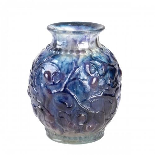 1924 Gabriel Argy-rousseau - Vase Fruits Et Feuilles Blue, Purple Glass
