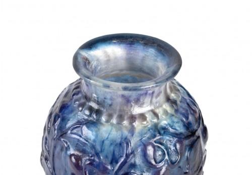 1924 Gabriel Argy-rousseau - Vase Fruits Et Feuilles Blue, Purple Glass - Glass & Crystal Style Art Déco