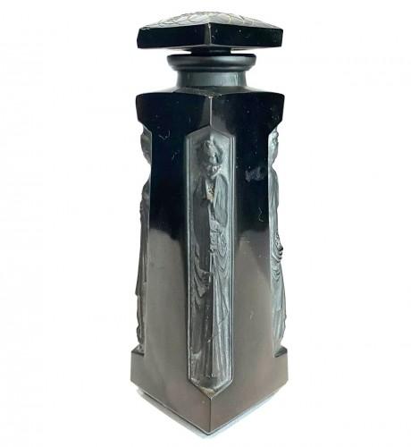 1914 René Lalique - Perfume Bottle Ambre D'Orsay Black Glass White Patina