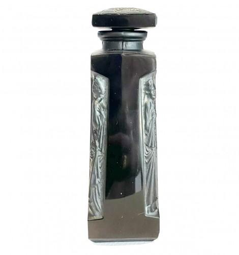1914 René Lalique - Perfume Bottle Ambre D'Orsay Black Glass White Patina - Glass & Crystal Style Art nouveau