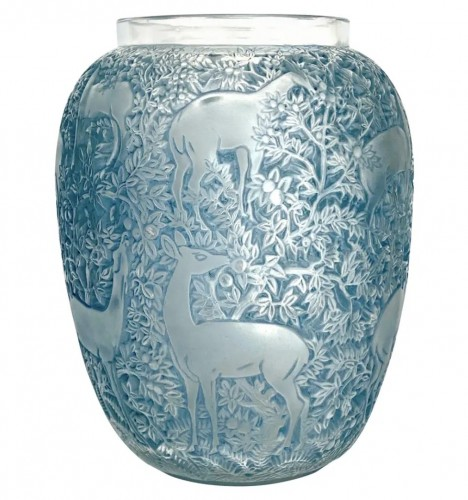 1931 René Lalique - Vase Biches Frosted Glass With Blue Patina