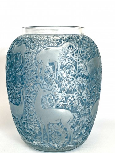 1931 René Lalique - Vase Biches Frosted Glass With Blue Patina - Glass & Crystal Style Art Déco