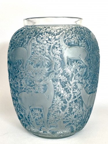 1931 René Lalique - Vase Biches Frosted Glass With Blue Patina -