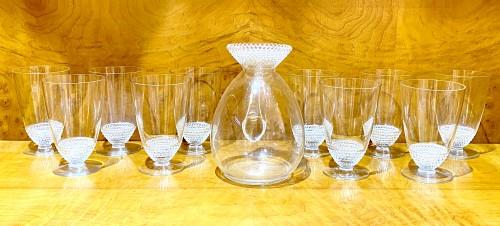 """1930 Original René Lalique - Orange Juice set """"Nippon""""  - Glass & Crystal Style Art Déco"""