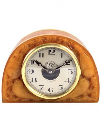 """1924 René Lalique - Clock """"Moineaux"""" Butterscotch Clock Original Ato Movement"""