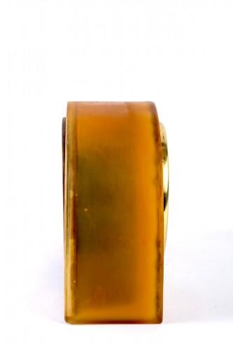 """Glass & Crystal  - 1924 René Lalique - Clock """"Moineaux"""" Butterscotch Clock Original Ato Movement"""