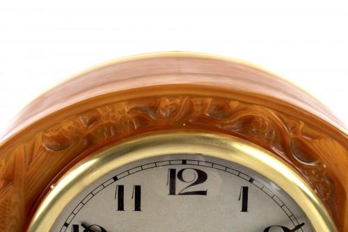 """1924 René Lalique - Clock """"Moineaux"""" Butterscotch Clock Original Ato Movement -"""