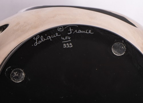 Lalique France - Tourbillon Vase enamel Black Crystal - Glass & Crystal Style Art Déco