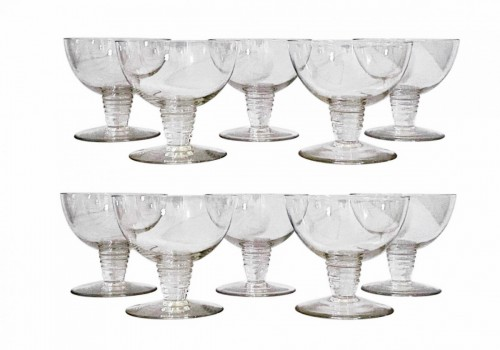 1937 René Lalique - Suite Of 10 Tonnerre Champagne Glasses