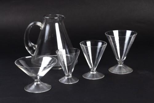1937 René Lalique Service Arbois - 49 Pieces (48 Glasses - 1 Pitcher) - Glass & Crystal Style Art Déco