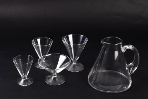 Glass & Crystal  - 1937 René Lalique Service Arbois - 49 Pieces (48 Glasses - 1 Pitcher)
