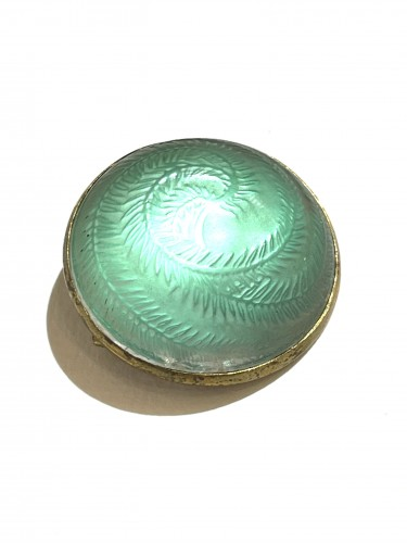 1920 Rene Lalique - Brooch Cabochon Acacia Green - Glass & Crystal Style Art Déco
