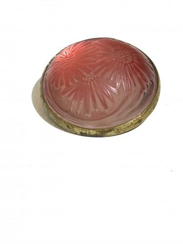 1920 Rene Lalique - Brooch Cabochon Marguerite Pink - Glass & Crystal Style Art Déco