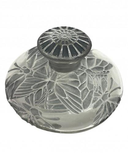 1914 René Lalique - Perfume Bottle Misti For L.t Piver Glass & Blue Patina