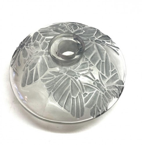 1914 René Lalique - Perfume Bottle Misti For L.t Piver Glass & Blue Patina -