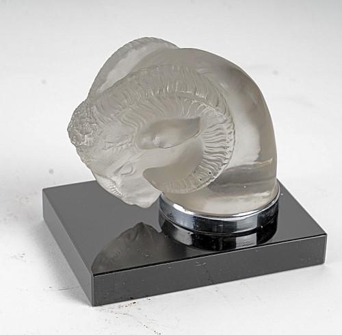 1928 Rene Lalique - Pair Of Mascots Bookend Tete De Belier - Glass & Crystal Style Art Déco