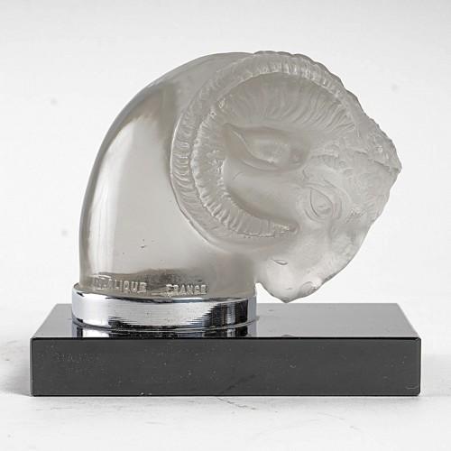 1928 Rene Lalique - Pair Of Mascots Bookend Tete De Belier -
