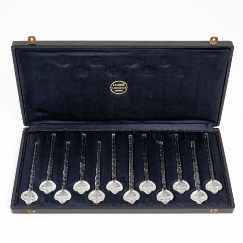 1932 René Lalique - Set Of 12 Barr Swizzle Stick In Glass In Box