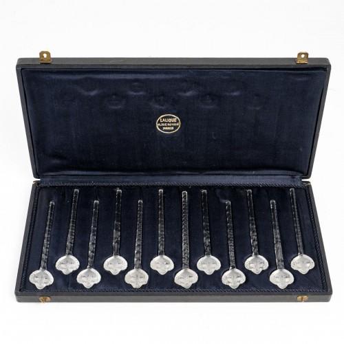 1932 René Lalique - Set Of 12 Barr Swizzle Stick In Glass In Box