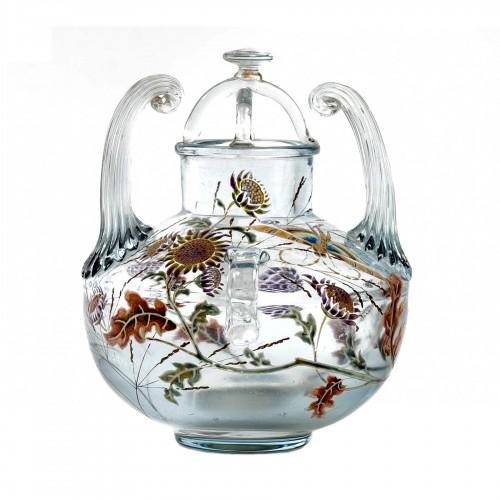 "1880 Emile Gallé - Vase Perfume Burner ""Flight of a Lepidoptera among Gaill"